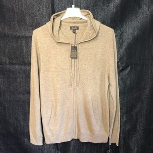 Mens Cashmere Hooded Zip Sweater